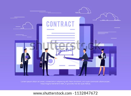 Vector concept of e-signature. Signing a contract with an electronic signature. Businessman in workspace. Vector illustration.