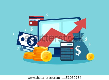 Vector concept of financial investment, tools with growth report. Calculations and graph of gains on the market and cash earnings.