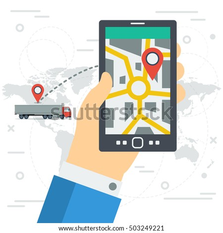 Vector concept of freight monitoring. Tracking of cargo during shipping on smartphone monitor in mans hand. World map with track and route on illustration background in flat style. Web square banner