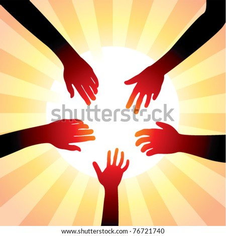 vector concept of friendly hands around sun