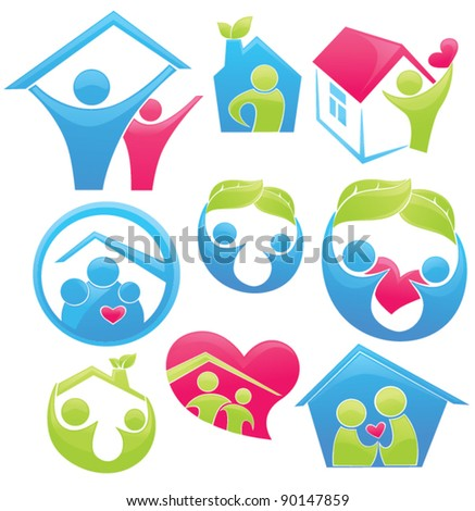 vector concept of happy loving family and home