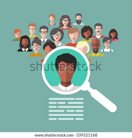 Vector concept of human resources management, professional staff research, head hunter job with magnifying glass. HR illustration in flat style. Male and female faces app icons