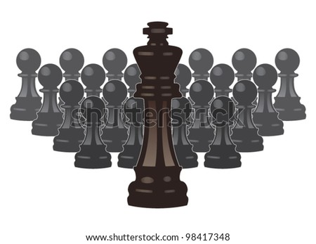 vector concept of leadership with chess pieces of a king and pawns