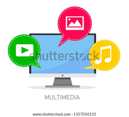 Vector concept of multimedia files and multimedia communication. Vector illustration on white background.