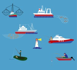Vector concept of river ocean and sea fishing boat Fisherman working on fishery industry at industrial level on large boat ship.