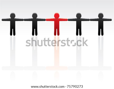 vector concept of standing out from the crowd