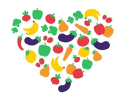 Vector concept of vegan food. Heart shaped fruits and vegetables that show love for healthy eating. EPS 10.