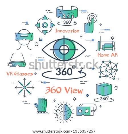 Vector concept of virtual reality diving. Linear icon of 360 degree view - eye with pupil and full arrow. Innovations technology in outline colored style. Mask for VR and other entertainment icons