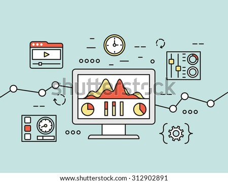 Vector concept of website analytics search information and computing data analysis using mobile devices, applications and special programs. Isolated on green background