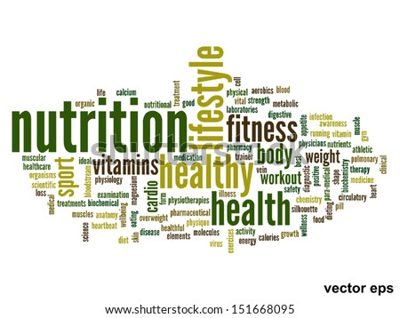 Vector concept or conceptual abstract word cloud on white background as metaphor for health,nutrition,diet,wellness,body,energy,medical,fitness,medical,gym,medicine,sport,heart or science