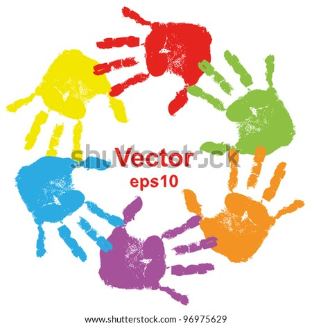 Vector concept or conceptual circle or spiral of colorful hand prints made by children isolated on white background for paint handprint sym bol people identity together friendshi p play or fun designs