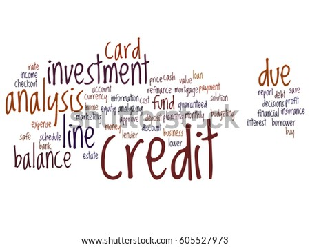 Vector concept or conceptual credit card line investment balance abstract word cloud isolated on background metaphor to money analysis, business fund balance, estate, mortgage, safe refinance solution