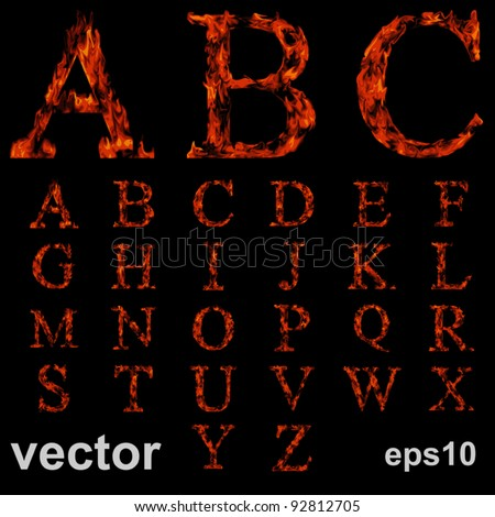 Vector concept or conceptual red burning fire fonts isolated on black background, ideal for holiday,vintage or industrial designs. It is a set,group or collection letters in red and orange flames - stock vector