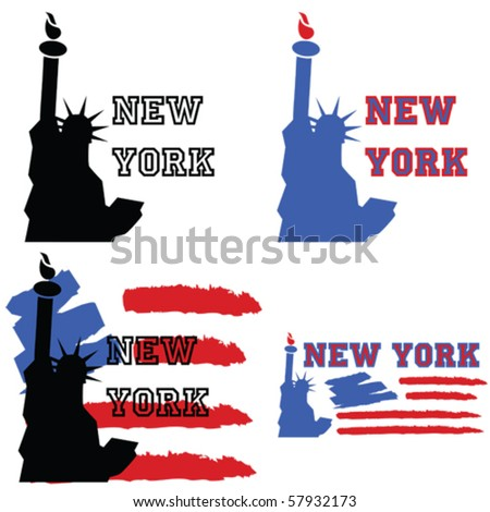 Vector concept set of illustrations about New York, with the Statue of Liberty and other elements like a stylized US flag