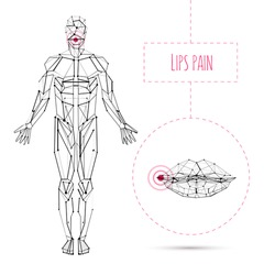 Vector concept white and black human anatomy with lips disease illustration for medical poster