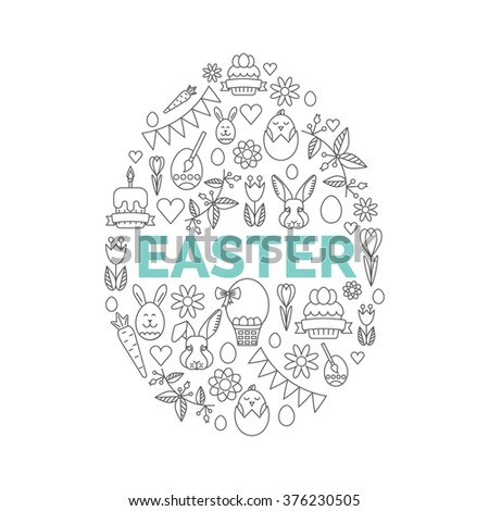 Vector concept with different Easter and Spring celebration elements.  Easter Icons on White Background. Easy to edit illustration. Egg Hunt party invitation.