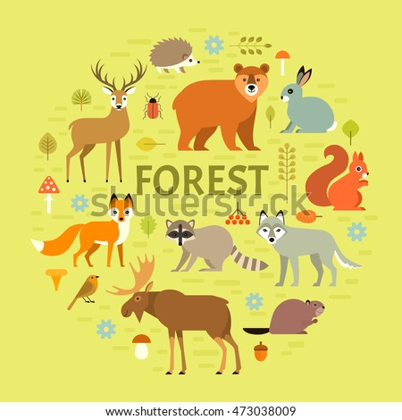 Vector concept with forest animals arranged in a circle. Isolated on green background.
