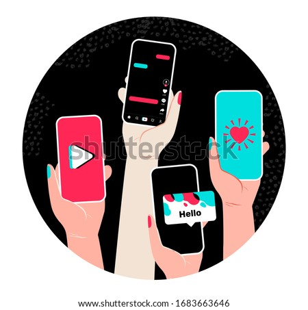 Vector concept with hands and smart phone, video tik tok. Social network illustration  Mobile app template like tiktok.
