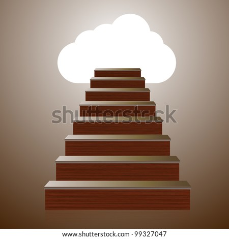 Vector concept wooden ladder with computer cloud. Eps10