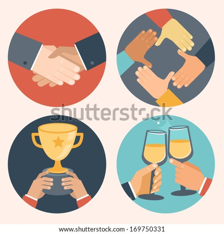 Vector concepts in flat style - partnership and cooperation. Business icons - handshake, cooperation, victory and celebration
