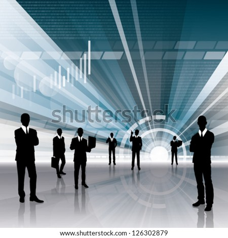 Vector conceptual business virtual background with business people. All elements in separated layers easy to turn off