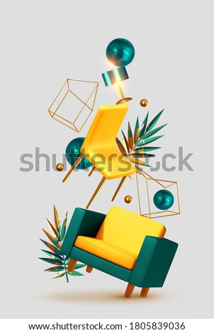 Vector conceptual composition with 3d objects. House interior design. Creative illustration, levitation of furniture, concept of moving, the idea of repairing an apartment. Trendy banner or poster