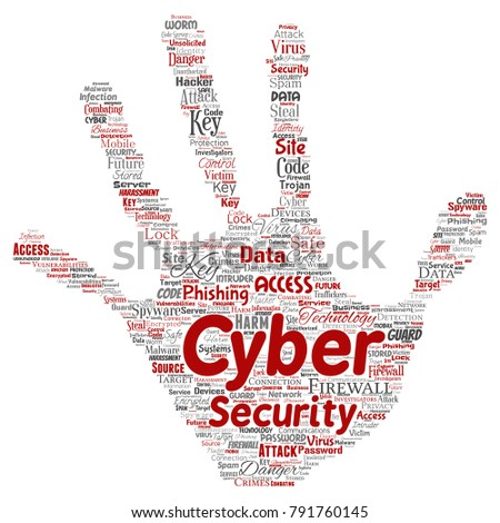 Vector conceptual cyber security online access technology hand print stamp word cloud isolated background. Collage of phishing, key virus, data attack, crime, firewall password, harm, spam protection