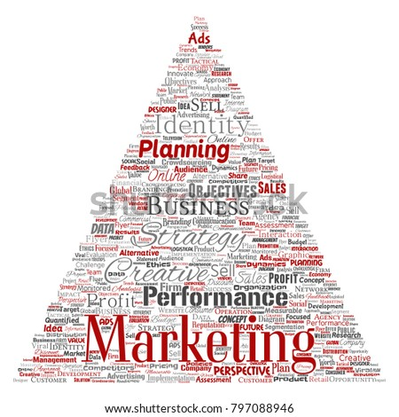 Vector conceptual development business marketing target triangle arrow word cloud isolated background. Collage advertising, strategy, promotion branding, value, performance planning or challenge