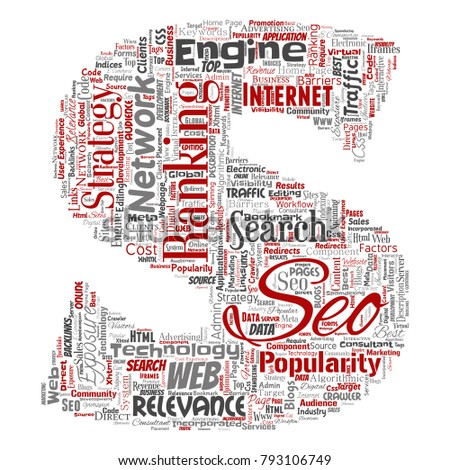 Vector conceptual search results engine optimization top rank seo letter font S online internet word cloud text isolated on background. Marketing strategy web page content relevance network concept