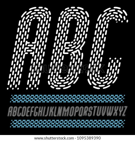 Vector condensed funky capital English alphabet letters, abc collection. Rounded bold italic retro font, typescript can be used as logo design element. Made using rhythmic strokes and dashed lines.