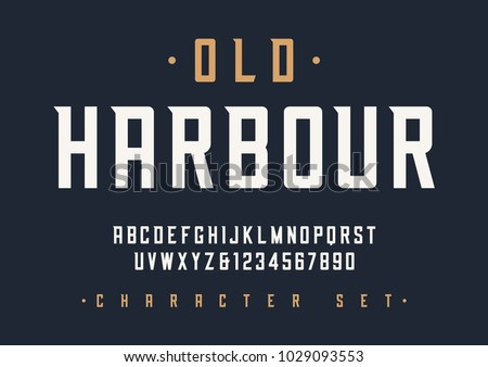 Vector condensed retro display font design, alphabet, character set, typeface, typography, letters and numbers. Swatch color control.