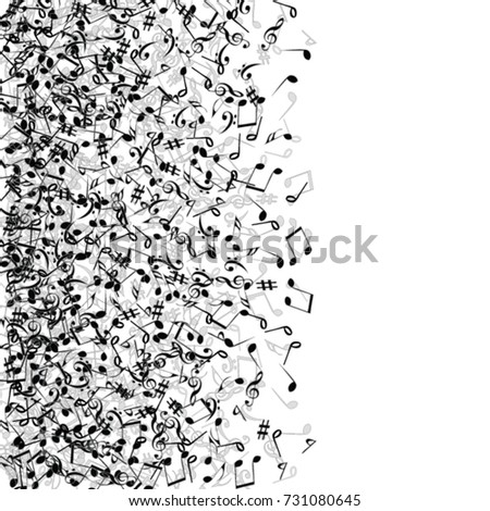 Vector Confetti Background Pattern. Element of design. Music Signs on a white Background