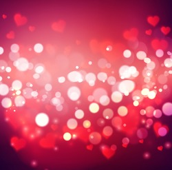 Vector confetti falling from blurred hearts and bokeh. Love concept card background for Valentines day