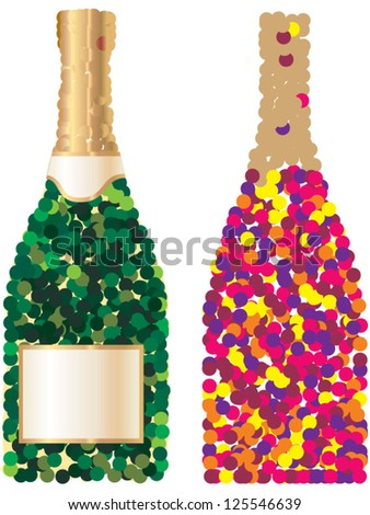 Vector confetti in form of sparkling wine bottles. Bottle green and multicolor.