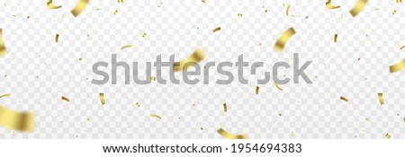 Vector confetti png. Gold confetti falls from the sky. Glittering confetti on a transparent background. Holiday, birthday.