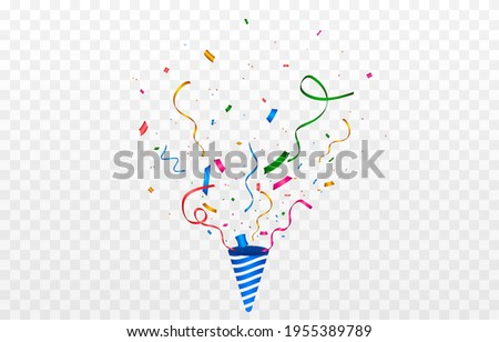 Vector confetti png. Multi-colored confetti are flying out of a firecracker. Confetti, serpentine, tinsel on a transparent background. Holiday, birthday. Stock photo ©
