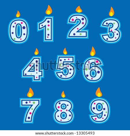 Vector confetti style birthday candles on blue background. More birthday images in my gallery. - stock vector