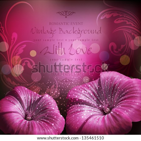 vector congratulatory background with flowers