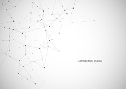 Vector connecting dots and lines. Global network connection. Geometric connected abstract background