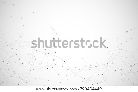 Vector connecting lines and dots. Global creative social network with abstract polygonal background