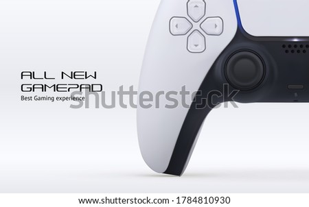 Vector console videogame play controller for game station. Gamepad 5 generation