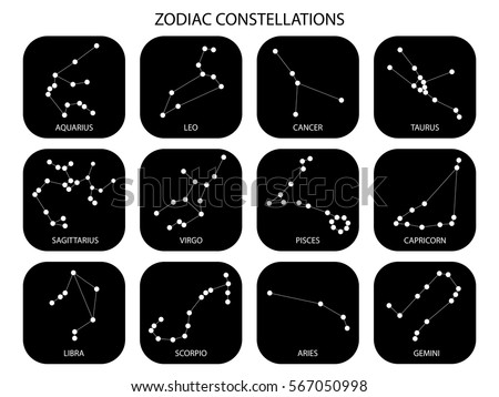 Vector. Constellations of the 12 zodiac signs, constellations, icons. Black signs of the stars on white background. Glowing lines and points. Star chart, map. Constellations with titles. Deep space