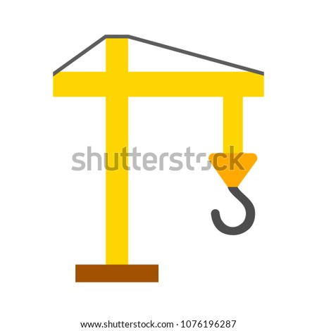 vector construction crane illustration - industrial machine - lifting symbol