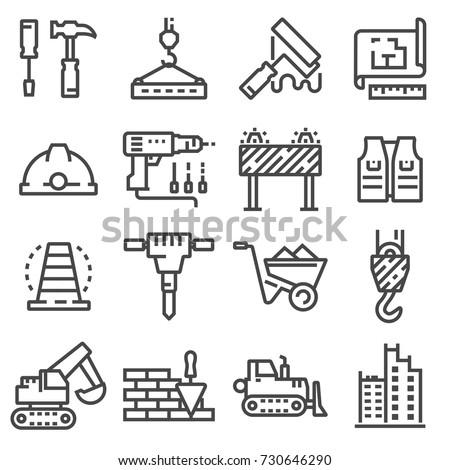 Vector construction icons set. Building line symbols