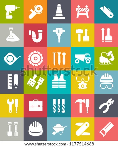 vector CONSTRUCTION ICONS SET with Traffic warning, road sign, safety construction symbol, cone, Working tool, carpentry, repair work, electric hammer, drill, wheelbarrow, safety jacket, water pipe