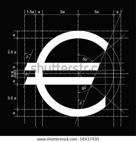 Vector construction illustration of a euro symbol