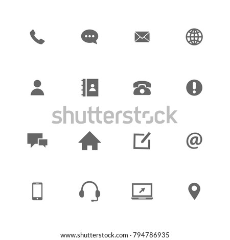 Vector contact us icon grey on white background
