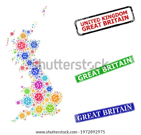 Vector contagious mosaic Great Britain map, and grunge Great Britain seals. Vector colorful Great Britain map mosaic, and Great Britain textured framed rectangle stamp seals.