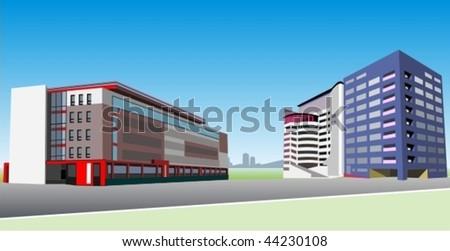 vector contemporary office buildings
