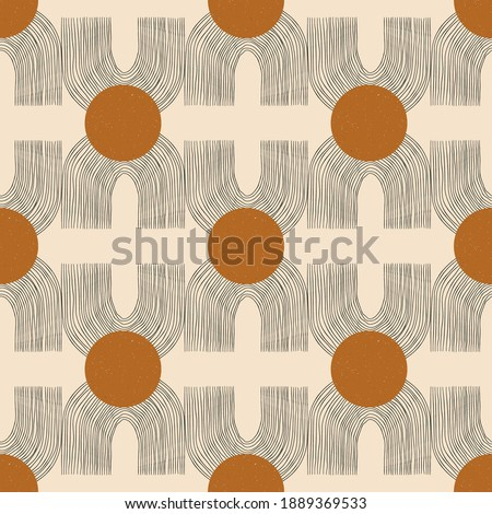 Vector contemporary seamless pattern with aesthetic hand drawn abstract shapes and geometric elements. Creative Mid Century minimalist bohemian contemporary design, print, poster, background